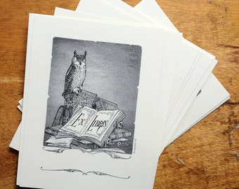 Perched Owl Bookplate