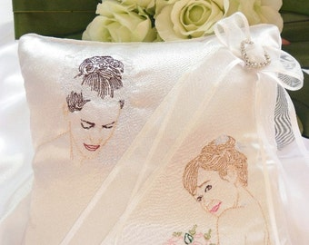Lesbian Gay Wedding Ring Bearer Pillow. Ring Bearer For Lesbian Gay Wedding. Embroidered Ring Pillow