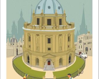 Oxford A4 Giclée Fine Art Print - Radcliffe Camera & Bodleian Library