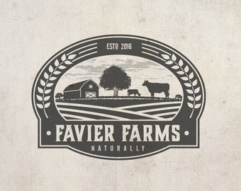Logo Design - Vintage Logo - Business Logo - Business Branding - Watermark Logo - Green - Natural food - Retro Logo - Farm Logo