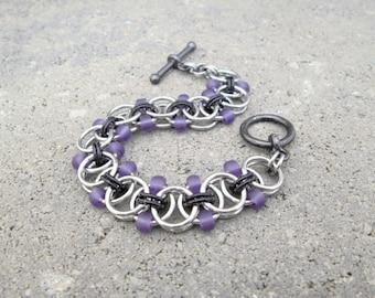 Purple Beaded Bracelet, Chainmail Jewelry, Chainmaille Bracelet, Chunky Bracelet, Stainless Steel Jewelry, Toggle Bracelet, Chain Maille