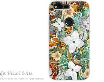 Spring Floral Google Pixel XL Tough Case - Dual Layer Protection - Sangria Flora - Protective Dual Layer Pixel XL Case with Dogwood Flowers
