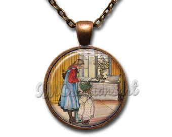 Carl Larsson The Kitchen Glass Dome Pendant or with Chain Link Necklace AP135