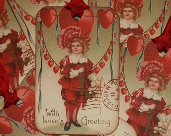 Valentine Tags, With Love's Greeting Valentine