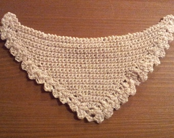 Crocheted beige shawl miniature for dollhouse 1:12