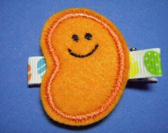 Easter Felt Hair Clip Clippie - Jelly Bean...Orange - For Infant Toddler Girl