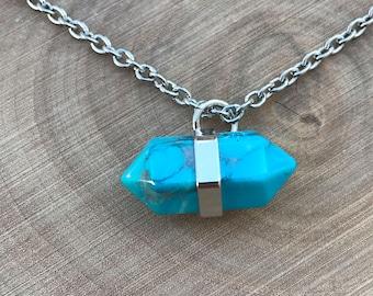 SALE Turquoise Howlite Pendant Necklace || Boho Necklace || Turquoise Pendant
