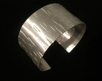 Large Aspen Bark Cuff - Reiki Infused Solid Sterling Silver