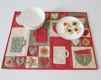 Christmas Breakfast I placemat PDF sewing pattern - applique pattern - Christmas placemat sewing pattern - instant download sewing pattern