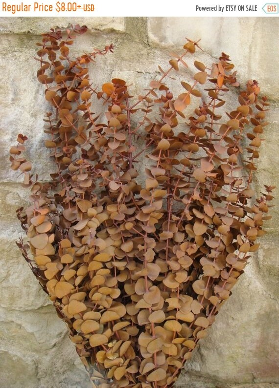 SUMMER WREATH SALE Orange Preserved Eucalyptus- Dried Floral Bouquet Bunch- Thanksgiving Decoration Fall Decor Table Centerpiece- Wedding Ta