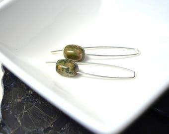 Rhyolite Jasper Earrings, Rainforest Jasper Earrings, Nugget Gemstone Earrings