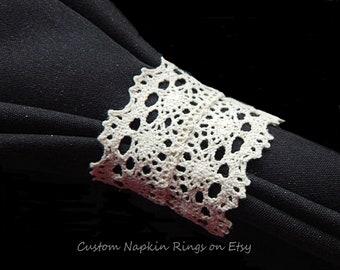 ACRU Lace Napkin Ring CREAM IVORY Lace Napkin Ring Wedding Lace Napkin Ring Anniversary Tea Party Victorian Lace Napkin Ring Set of 12
