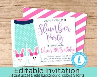 Slumber party invite Etsy