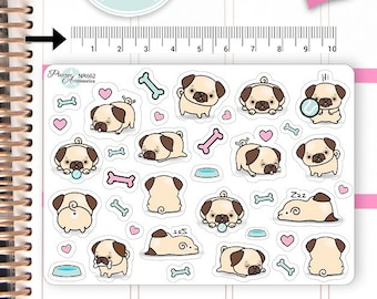 Kawaii Pugs Stickers Cute Pugs Stickers Pugs Stickers Planner Stickers Erin Condren Functional Stickers Decorative Stickers NR662