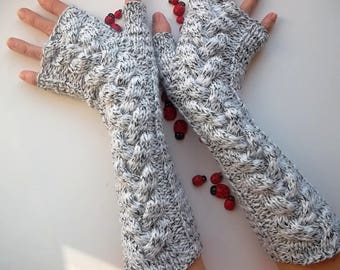 Women Size M Long Gloves Ready To Ship Accessories Wrist Warmers Fingerless Mittens Gift Wool Arm Hand Knitted Elegant Winter Warm Cabled 96