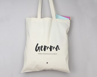 Hashtag Tote Bag - Monochrome - Personalised Bag - Shopping Bag - Grocery Bag - Book Bag