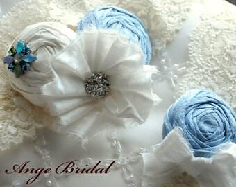 Wedding Garter Set, SILK Wedding Garter, Blue wedding Garter, Something Blue, Wedding garter/ Bridal garter/ Silk garter