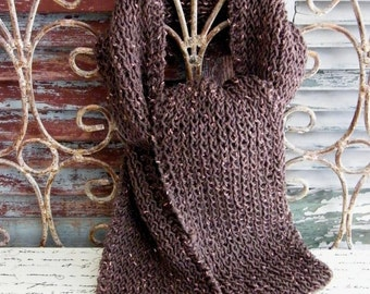 Hand Knit Chocolate  Brown Wool Scarf by avintageobsession on etsy
