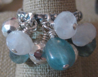 Exotic Treasures of Moonstone & Apatite Cluster Dangle Ring - R194