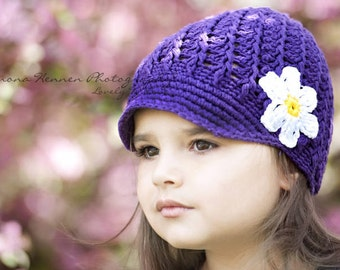 Crochet Toddler Hat, Dark Purple Hat for Girls, Crochet Hat with Flower, Toddler Newsboy Hat, 1T to 2T, READY To Ship