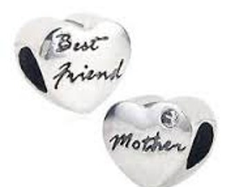 MOTHER BEST FRIEND 925 Sterling Silver Heart Charm Bead for European Bracelet