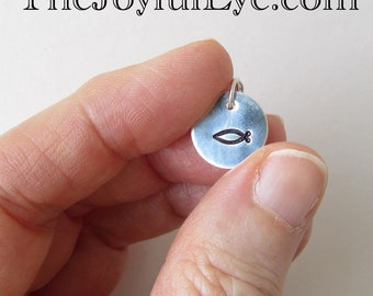 Christian Fish Symbol in fine silver.  Fine silver inspirational hand-stamped charm.