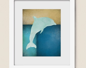 Dolphin Wall Art Print 8 x 10, Accessoires décoration tropicale, Beach House (235)