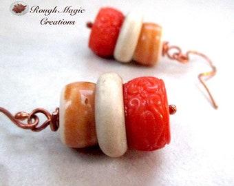 Chunky Boho Earrings, Earthy Multicolor Orange Cream Tan, High Quality Vintage Lucite, Carved Bakelite Faux Cinnabar, Copper Earwires  E495
