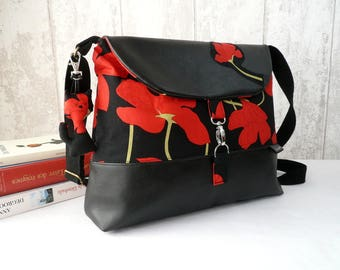 Black and red crossbody bag, poppy messenger bag