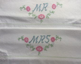 Vintage pillowcases pair with Mr & Mrs