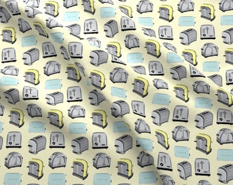 Retro Kitchen Toaster Fabric - 1950s Breakfast Food Pastel Yellow Blue Gray By Misschiffdesigns - Cotton Fabric By The Yard With Spoonflower