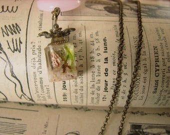 Dried flowers cube necklace