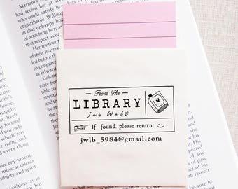Wood Handle / Mount, This book Belongs to, Personalized Library Stamp - #68