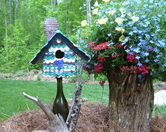 """Birdhouse & removable stand; mounted on wine bottle, vinyard scene using hand crafted plastic scrap; name """"My Heart Is In The Vineyard"""""""