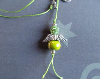 Necklace with pendant shape green Angel