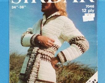 Vintage Knitting Pattern Cardigan Sirdar 70s