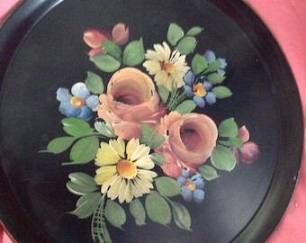 Metal Vintage Tray with Hand Painted Toleware Flowers