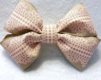 Girly Blush Lace Hair Bow