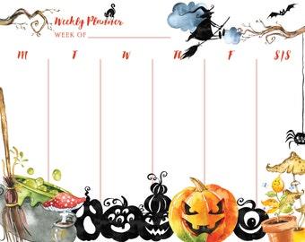Weekly Planner - Halloween/Fall/Pumpkin/Jack-o-lantern/Witch - Calendar/Schedule/Itinerary/Printable Calendar/Printable Planner