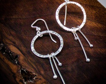 Sterling Silver Large Shooting Star Earrings