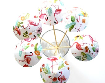 Tropical Paradise Drink Umbrella - Flamingo Floral - Drink Stirrer - Set of 6