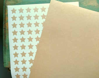 "540 Star Stickers, recycled kraft stickers, 0.75"" (19mm), eco-friendly stickers, 3/4"" mini star labels, blank planner stickers (5 sheets)"