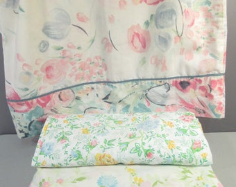 Vintage full sheets, double sheets,  mix and match sheets, remixed sheets, full size floral sheets, flower sheets, wildflowers, pastel