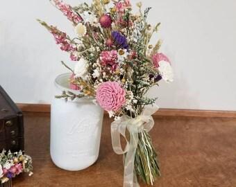 Dried flower Bouquet, Sola wood Bouquet, Woodland  Bouquet, wild flowers bouquet, jr  Bouquet, Sola flowers, dried Bouquet, Rustic