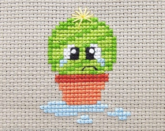 Spike the Cute Baby Cactus Cross Stitch Pattern PDF | Prickly but Cute Stitch-a-Long | Modern | Easy Beginners Counted Cross Stitch Pattern
