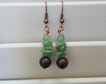 Lotus Seed and Aventurine Earrings