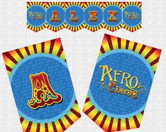 Circus Party Banner, Printable file, Personalized