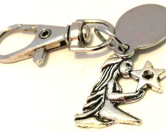 Engraved personalised little kneeling fairy with star keyring in pouch LT173