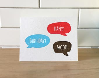 Happy Birthday Woot! (Gocco-printed card)