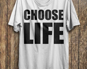 CHOOSE LIFE T-Shirt George Michael WHAM 80s Costume Party Re